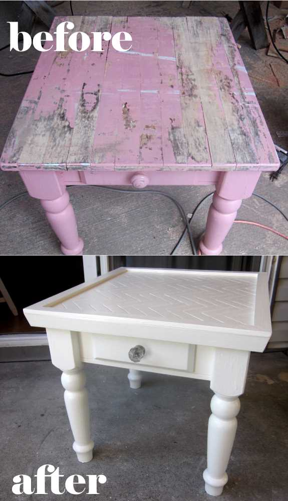24. Check out the AMAZING transformation of a weathered table into a beautiful table with a herringbone top