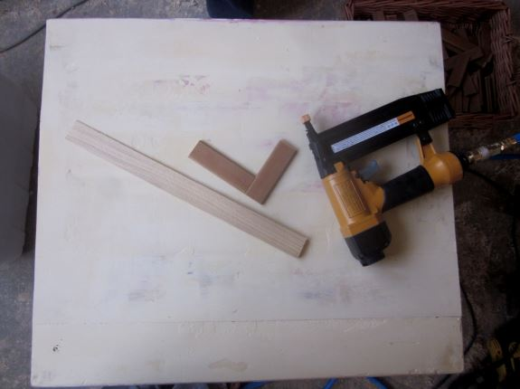 7. Lay out pre-cut slats on the prepared tabletop