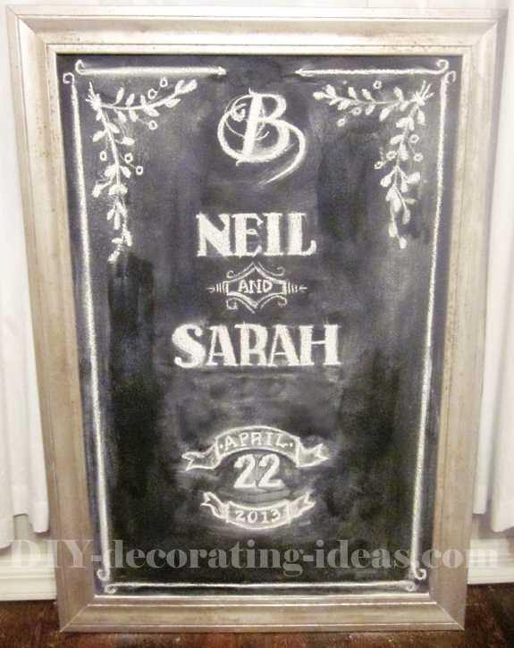 Homemade Chalkboard with Faux Rust Frame