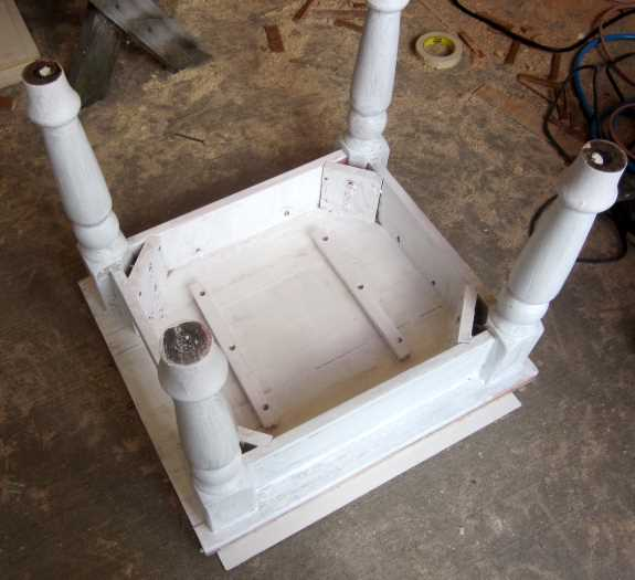 15. Flip table over on its top; prime the entire underside of the table