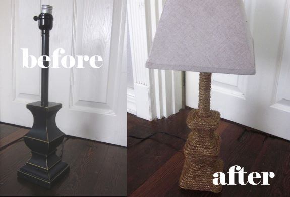 Rope wrapped lamp, before and after